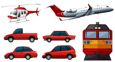 Different designs of transportations illustration Illustration