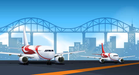 city: Two airplanes parking on runway illustration