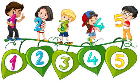 Kids and numbers one to five illustration