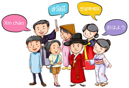 A vector illustration of multi ethnic people from different cultures people greeting in different languages illustration vector m4hsunfo Images