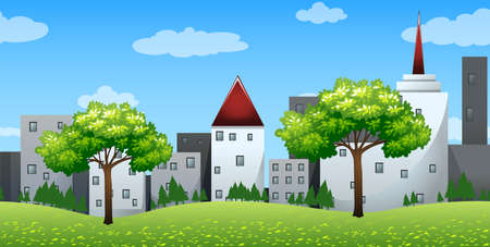 Seamless background with buildings on the hills illustration Illustration