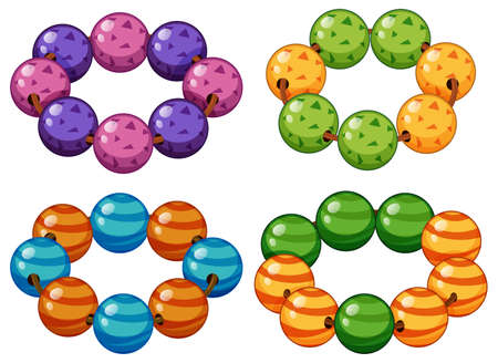 armbands: Armbands made of round beads illustration
