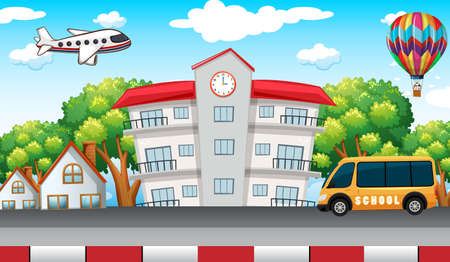 School building with school bus in front illustration Illustration