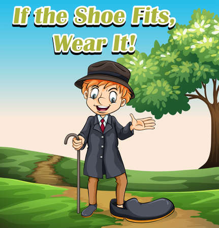 Idiom expression for if the shoe fits wear it illustration Illustration