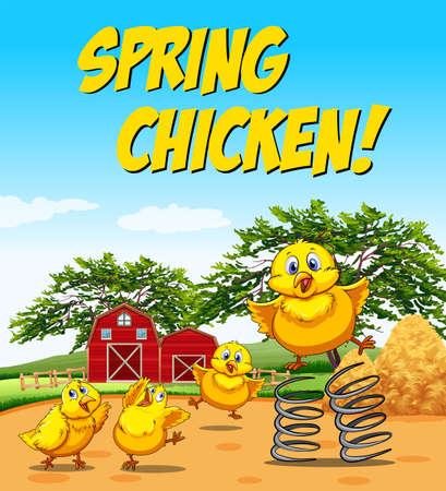 Idiom poster for spring chicken illustration