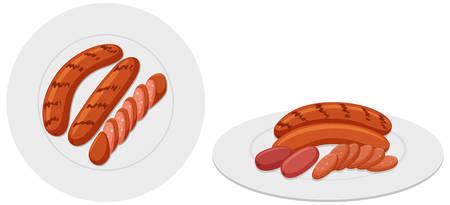 Two plates of grilled sausages illustration Illustration
