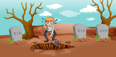 Scene with man digging hole in graveyard illustration