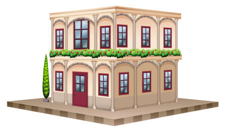 view: 3D design for building with red windows and door illustration Illustration