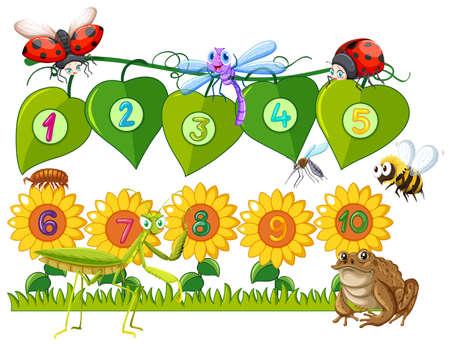 numero nueve: Número uno a diez en hojas y flores ilustración
