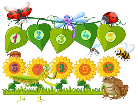 one animal: Number one to ten on leaves and flowers illustration