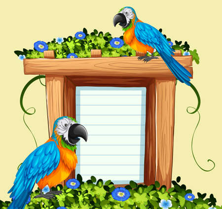 Paper template with two macaw birds illustration Illustration