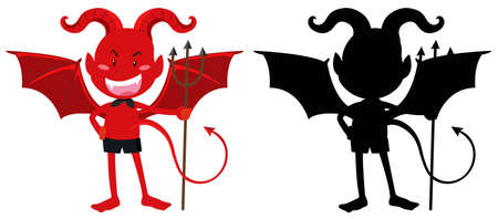fantacy: Red devil and its silhouette illustration Illustration