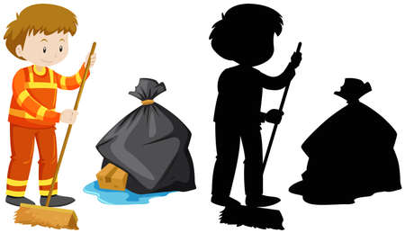 white background: Janitor cleaning the floor illustration