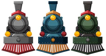 grey: Steam engine designs in three colors illustration Illustration