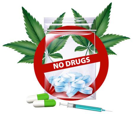 No drugs sign with marijuana leaves illustration Illustration