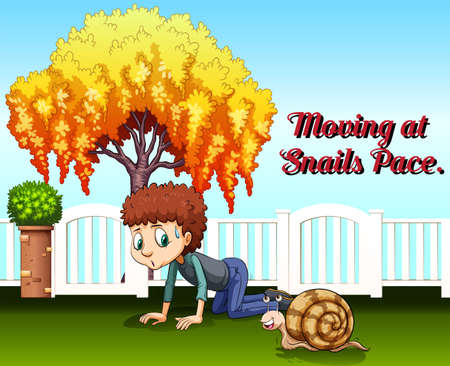 pace: Idiom expression for moving at snails pace illustration Illustration
