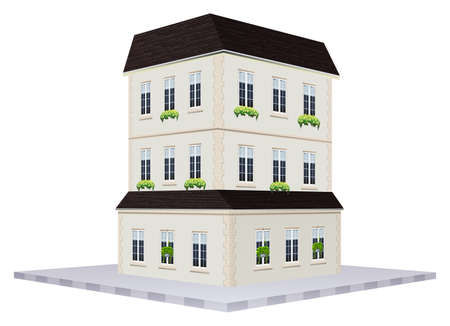 house building: Building design for house with three floors illustration Illustration