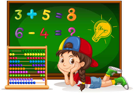 Girl counting numbers on board illustration