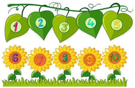 Numbers one to ten on leaves and flowers illustration
