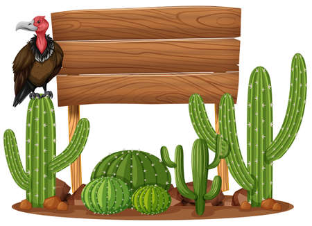 Wooden sign and vulture in cactus garden illustration Illustration