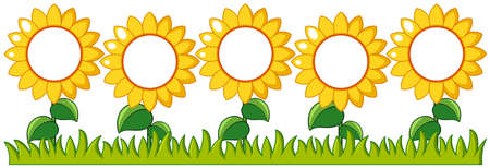 Sunflowers garden with writing space illustration