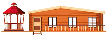 architect drawing: Wooden cottage and pavilion illustration