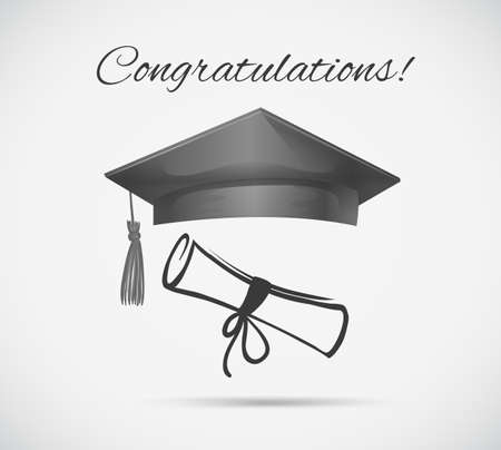 Congratulations card template with graduation cap illustration