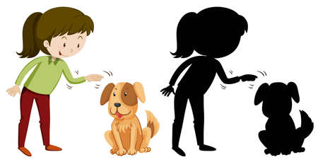 relationships human: Girl and pet dog in silhouette and colored illustration