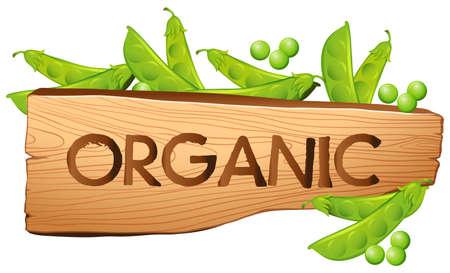 Organic sign with greenpeas illustration