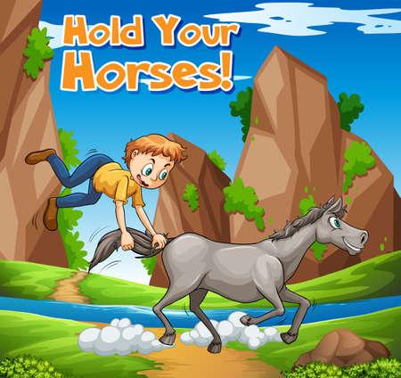 Idiom expressie voor uw paarden illustratie