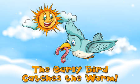 Idiom expression for early bird catches the worm illustration Illusztráció