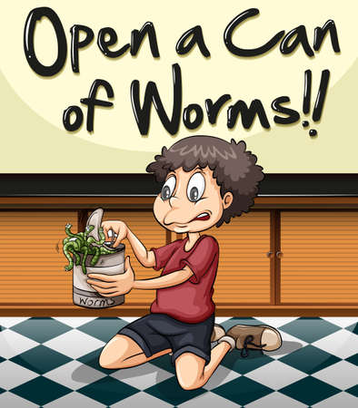 Idiom phrase on poster for open can of worms illustration