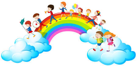 Children in parade over the rainbow illustration