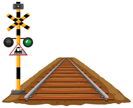 Traffic lights for train and railroad illustration Illustration
