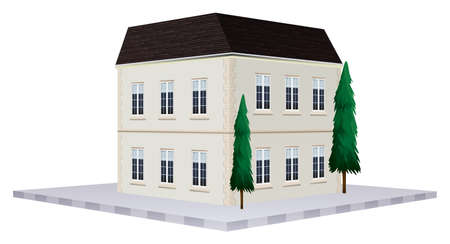 two storey: Two storey building painted in white illustration