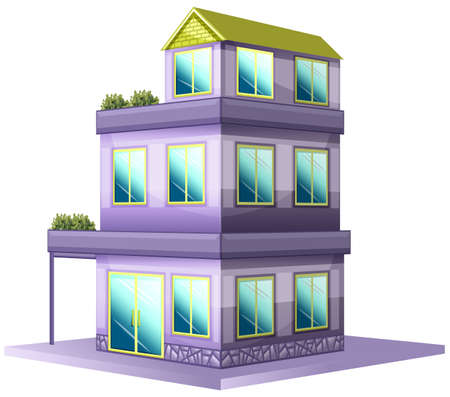 architect drawing: Three storey house painted in purple illustration