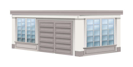 white background: Architecture design for garage illustration Illustration