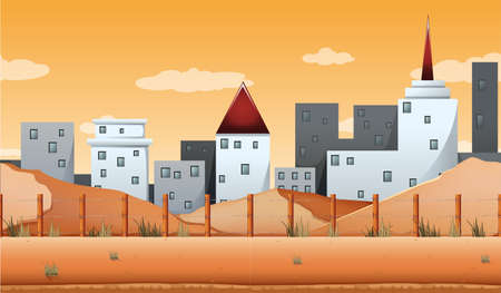 city: Seamless background with buildings and desert land illustration