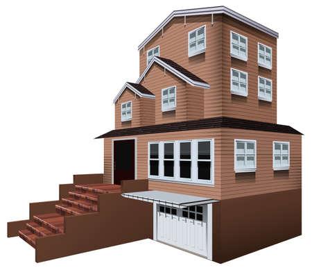 real estate house: 3D design for big house with garage illustration Illustration