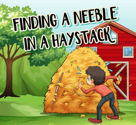 Idiom phrase on poster for finding needle in haystack illustration