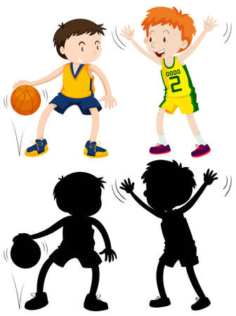 children silhouettes: Two boys playing basketball illustration Illustration