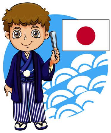 people icon: Japanese boy with flag illustration Illustration