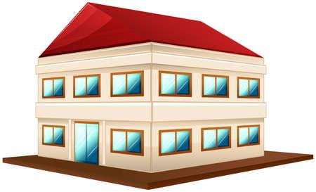 building: 3D design for wide building with red roof illustration. Illustration
