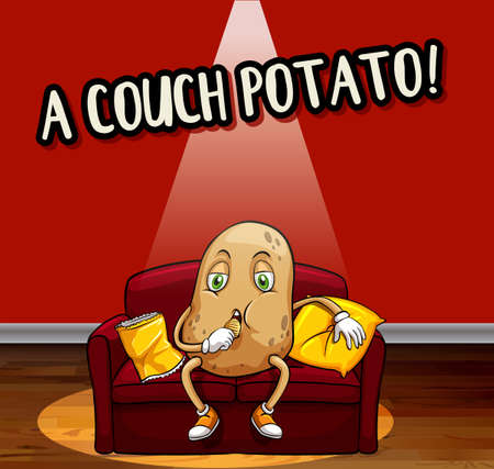 Idiom pharse for counch potato illustration
