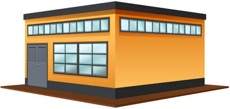 white background: Architecture design for  square building illustration