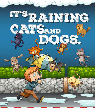 Idiom poster with raining cats and dogs illustration