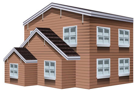 Big wooden building with white windows illustration