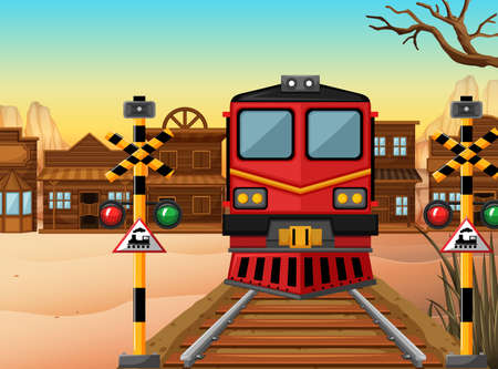 vehicle track: Train on the track to the western town illustration Illustration