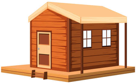 Wooden cottage in 3D design illustration