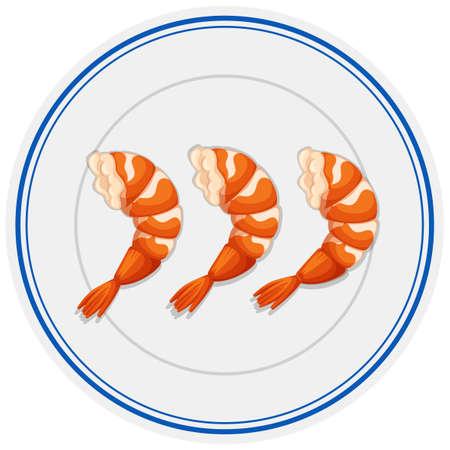 Shrimp cocktails on the plate illustration